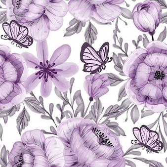 Nahtloses muster der aquarellblume und des schmetterlingspurpur