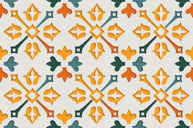 Nahtloses muster der arabischen blumenabstrakten-arabeske. hintergrund des ostmotivpapierstils
