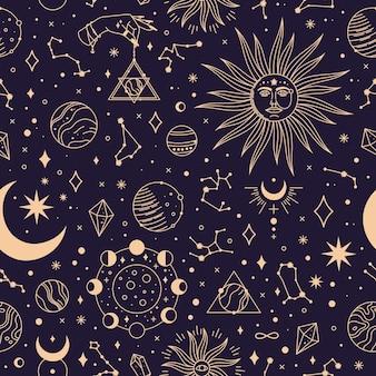 Nahtloses muster der astrologie mit konstellationen planeten und sternenvektorhintergrund