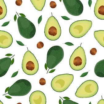 Nahtloses muster der avocado ganzes d