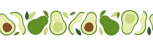 Nahtloses muster der avocado, modische anlage, gewebe in der flachen art