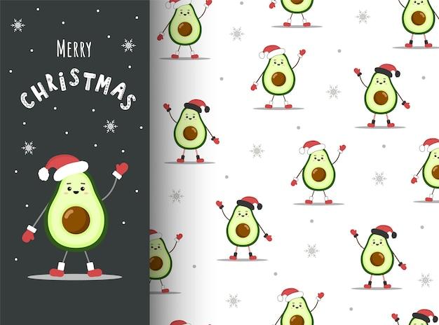 Nahtloses muster der avocado-weihnachten