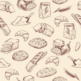 Nahtloses muster der bäckerei. brot croissant gebäck gebäck weizen laib geschnittene weiße rolle gezeichnete vintage-skizze