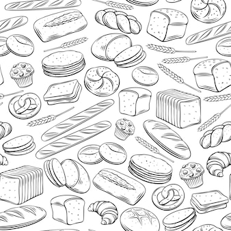 Nahtloses muster der bäckerei. umriss hintergrund roggen, vollkorn- und weizenbrot, brezel, muffin, pita, ciabatta, croissant, bagel, toastbrot, französisches baguette für design-menü-bäckerei.