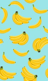 Nahtloses muster der banane, bündel der reifen banane
