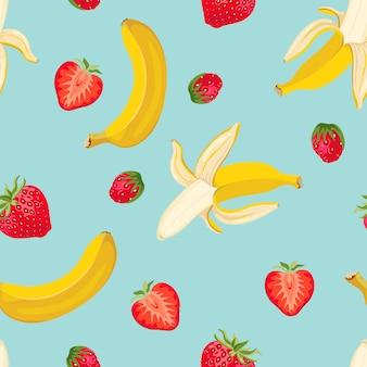 Nahtloses muster der banane und der erdbeere auf blau