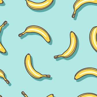 Nahtloses muster der bananen auf einem blauen hintergrund