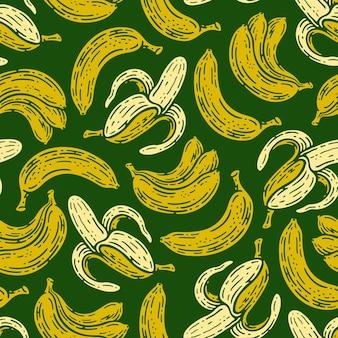 Nahtloses muster der bananenfrucht im gekritzel-weinlesestil.