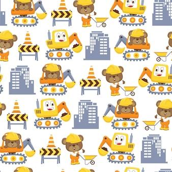 Nahtloses muster der baukarikatur mit lustigem arbeiter und glücklichem bagger. netter tiger, der arbeiteruniform trägt, während schubkarre und andere niedliche bär auf bagger schieben Premium Vektoren