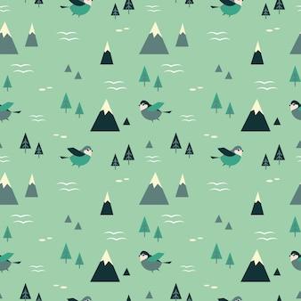 Nahtloses muster der berge und der vögel
