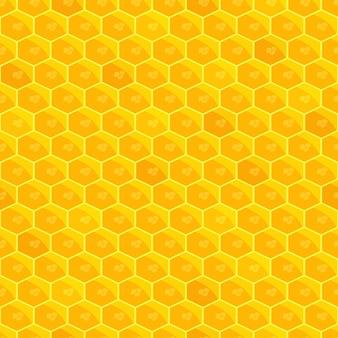 Nahtloses muster der bienenwabe. heller goldener sonnenhintergrund. honig-imkerei. bienen arbeiten. gesundes naturprodukt. vektor-illustration.
