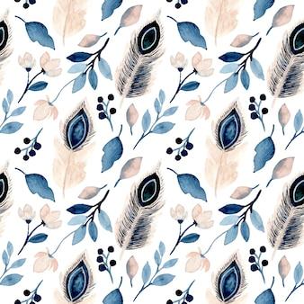 Nahtloses muster der blauen blätter und des federaquarells