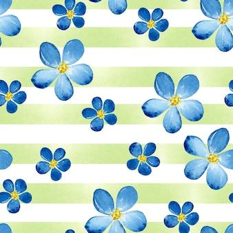 Nahtloses muster der blauen blume mit grünen streifen