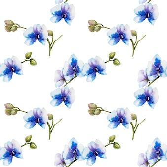 Nahtloses muster der blauen orchideen des aquarells