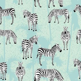 Nahtloses muster der blauen palme des zebras