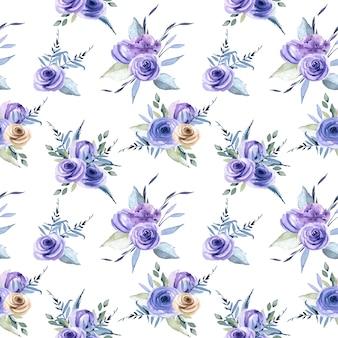 Nahtloses muster der blauen rosen der aquarellblumensträuße