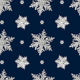 Nahtloses muster der blauen weihnachtsschneeflocke