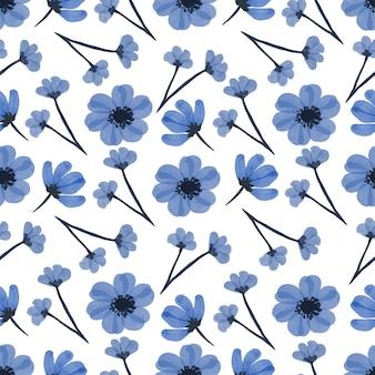 Nahtloses muster der blauen wildblumen