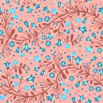 Nahtloses muster der blühenden glockenblumen
