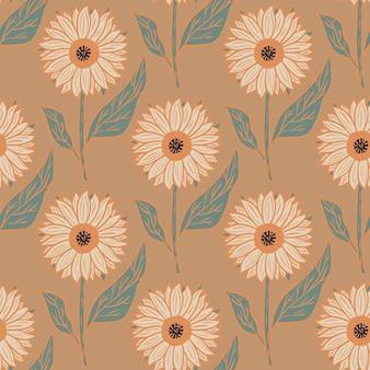 Nahtloses muster der blühenden natur mit karikatur-sonnenblumenverzierung