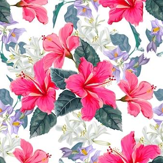 Nahtloses muster der blume mit hibiscusblume