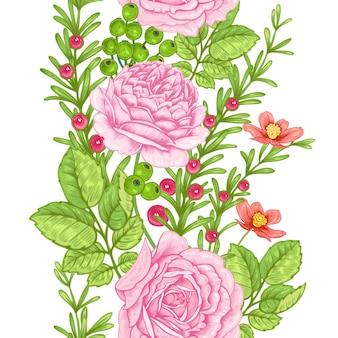 Nahtloses muster der blume mit rosen.