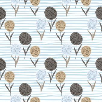 Nahtloses muster der blumenlöwenzahnsilhouetten. beigeand braune blumenformen auf weißem hintergrund mit blauen streifen.