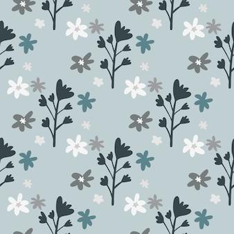 Nahtloses muster der blumenverzierung mit gänseblümchen- und blumenzweigen. pastell hellblauer hintergrund. dunkelgraue botanische elemente.
