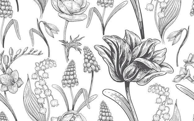 Nahtloses muster der blumenweinlese mit frühlingsblumen