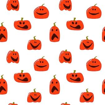 Nahtloses muster der bösen halloween-kürbisse