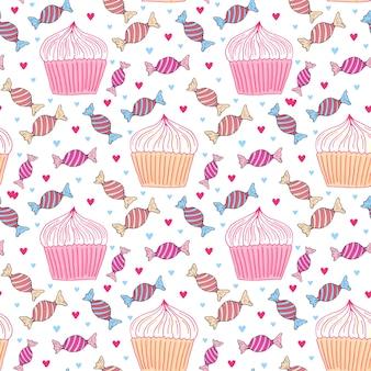 Nahtloses muster der bonbons mit kleinen kuchen und süßigkeit. girly hintergrund für menü dekoration, packpapier oder textildesign