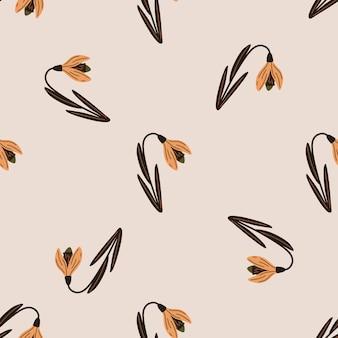 Nahtloses muster der braunen und orangefarbenen galanthusblumen
