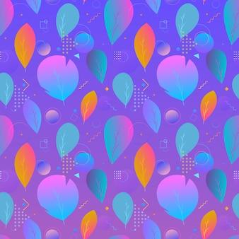 Nahtloses muster der bunten abstrakten modernen blätter