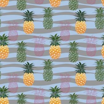 Nahtloses muster der bunten ananas