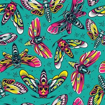 Nahtloses muster der bunten insekten der weinlese