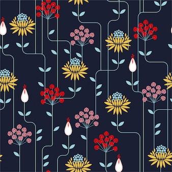 Nahtloses muster der bunten retro- blume, weinleseart. design für mode auf stoffen, textilien, papier, tapeten