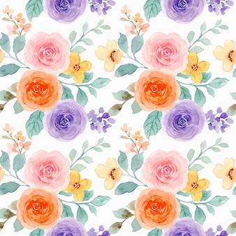 Nahtloses muster der bunten rosenblume mit aquarell