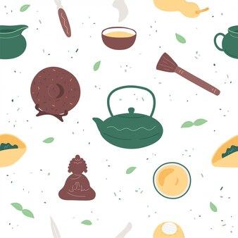 Nahtloses muster der chinesischen teezeremonie