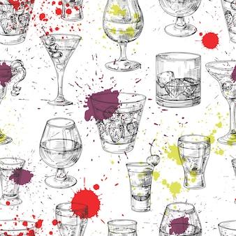Nahtloses muster der cocktailparty mit handgezeichneten getränken und spritzern