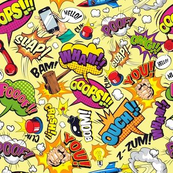 Nahtloses muster der comic-elemente