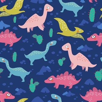 Nahtloses muster der dinosaurier für kinder