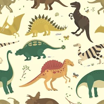 Nahtloses muster der dinosaurierweinlesefarbe.