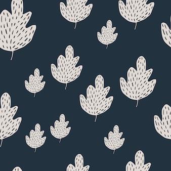 Nahtloses muster der einfachen eiche auf dunklem hintergrund. laubhintergrund im skandinavischen stil. einfache naturtapete. für stoffdesign, textildruck, umhüllung, abdeckung. doodle-vektor-illustration.