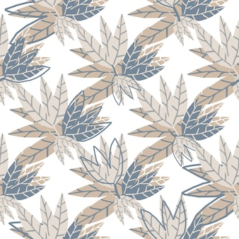 Nahtloses muster der einfachen goldenen blätter auf weißem hintergrund auch im corel abgehobenen betrag. handgezeichnete tropische tapete. design für stoff, textildruck, verpackung. vektor-illustration
