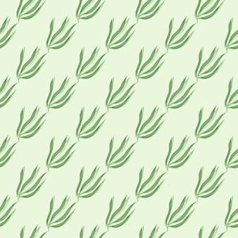 Nahtloses muster der einfachen grünen algen. meerespflanzen tapete. unterwasser-laub-hintergrund. design für stoff, textildruck, verpackung, abdeckung. vektor-illustration.