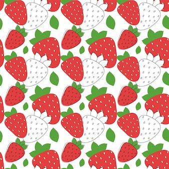 Nahtloses muster der erdbeere mit blattvektorillustration