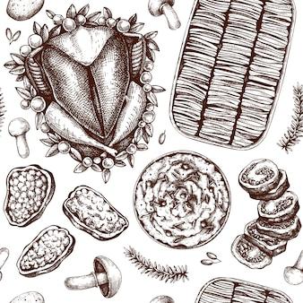 Nahtloses muster der erntedankfestgerichte. gebratener truthahn, gerolltes fleisch, gratin, kartoffelpüree, pfefferskizzen. traditionelles thanksgiving-essen. familienessen hintergrund. vintage hintergrund