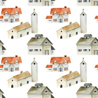 Nahtloses muster der europäischen alten häuser des aquarells, handgemalt auf einem weißen hintergrund