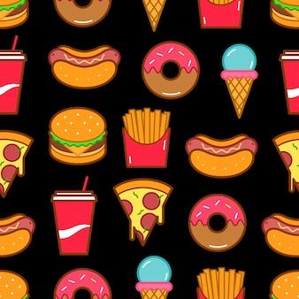 Nahtloses muster der fast-food-symbole.