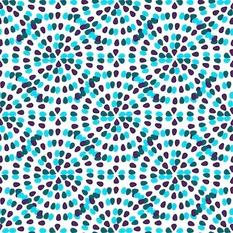 Nahtloses muster der feier mit freihändiger kreativer verzierung. blaue kreise und abstrakter hintergrund der punkte. vektor textilvorlage oder geschenkpapier